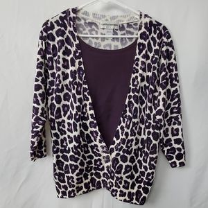 Cathy daniels LG Purple cardigan sweater leapord